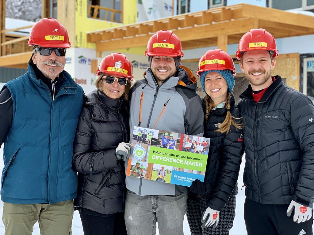 The Greenberg family dedicated a day of a recent vacation in Aspen to volunteer at the Basalt Vista project. From left are Rich, Eileen, Daniel and Rachael along with Rachael's husband Ben Beadle-Rydy.