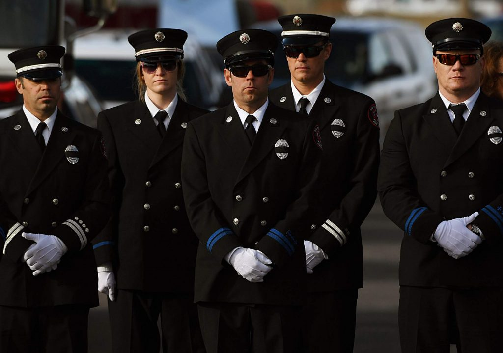 Fire crews gathered for a funeral for Summit County firefighter Ken Jones, 46, at Waterstone Community Church on December 13, 2019 in Littleton, Colorado. Jones died after falling from a five-story condominium while fighting a fire at Copper Mountain.