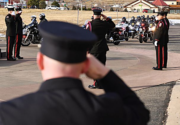LITTLETON, COLORADO - DECEMBER 13:  The funeral procession, for Summit County firefighter Ken Jones, 46, arrives at Waterstone Community Church on December 13, 2019 in Littleton, Colorado. Jones died after falling from a five-story condominium while fighting a fire at Copper Mountain. (Photo by RJ Sangosti/The Denver Post)