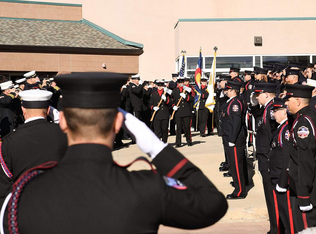 LITTLETON, COLORADO - DECEMBER 13: Hundreds gather for a funeral for Summit County firefighter Ken Jones, 46, at Waterstone Community Church on December 13, 2019 in Littleton, Colorado. Jones died after falling from a five-story condominium while fighting a fire at Copper Mountain. (Photo by RJ Sangosti/The Denver Post)