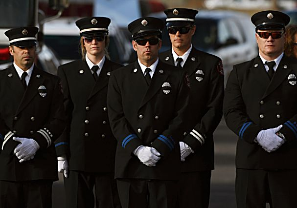 LITTLETON, COLORADO - DECEMBER 13: Fire crews gathered for a funeral for Summit County firefighter Ken Jones, 46, at Waterstone Community Church on December 13, 2019 in Littleton, Colorado. Jones died after falling from a five-story condominium while fighting a fire at Copper Mountain. (Photo by RJ Sangosti/The Denver Post)