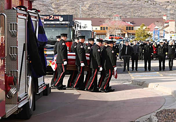 LITTLETON, COLORADO - DECEMBER 13:  People gathered for a funeral for Summit County firefighter Ken Jones, 46, at Waterstone Community Church on December 13, 2019 in Littleton, Colorado. Jones died after falling from a five-story condominium while fighting a fire at Copper Mountain. (Photo by RJ Sangosti/The Denver Post)