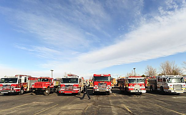 LITTLETON, COLORADO - DECEMBER 13: Fire crews arrive for a funeral for Summit County firefighter Ken Jones, 46, at Waterstone Community Church on December 13, 2019 in Littleton, Colorado. Jones died after falling from a five-story condominium while fighting a fire at Copper Mountain. (Photo by RJ Sangosti/The Denver Post)