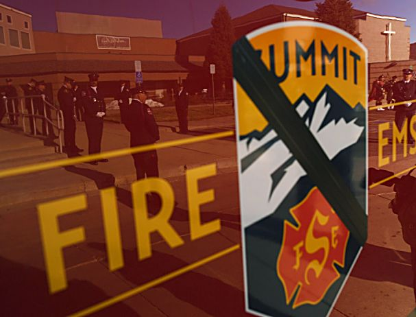 LITTLETON, COLORADO - DECEMBER 13: A Summit County fire truck is outside Waterstone Community Church during a funeral for firefighter Ken Jones, 46, on December 13, 2019 in Littleton, Colorado. Jones died after falling from a five-story condominium while fighting a fire at Copper Mountain. (Photo by RJ Sangosti/The Denver Post)