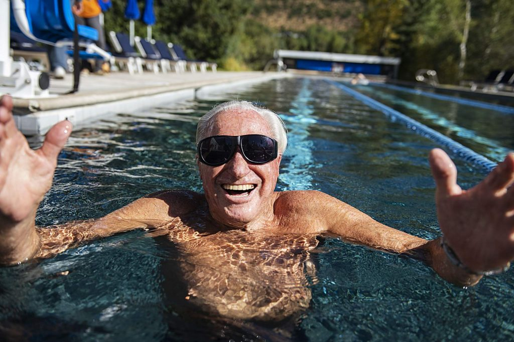 Klaus Obermeyer takes to the pool every morning to swim nearly a half-mile before going into the gym.
