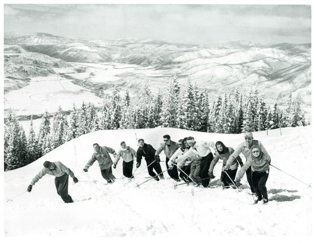 Klaus Obermeyer and friends on Aspen's Bell Mountain in 1947, the year he arrived in Aspen.