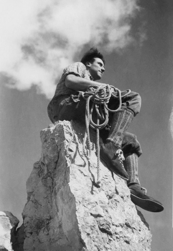 Klaus Obermeyer after one of his many climbs as a young man.