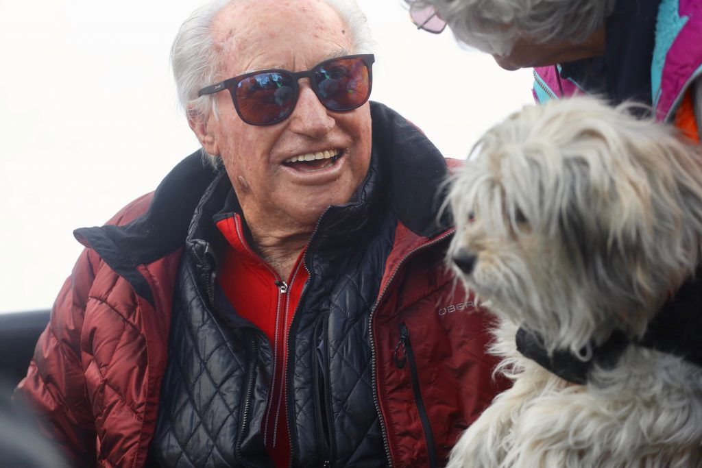 Skiing icon Klaus Obermeyer, who recently turned 100, had a ski run at Buttermilk Ski Area re-named after him by Aspen Skiing Co. during a short ceremony on opening day Saturday, Dec. 7, 2019. (Photo by Austin Colbert/The Aspen Times)