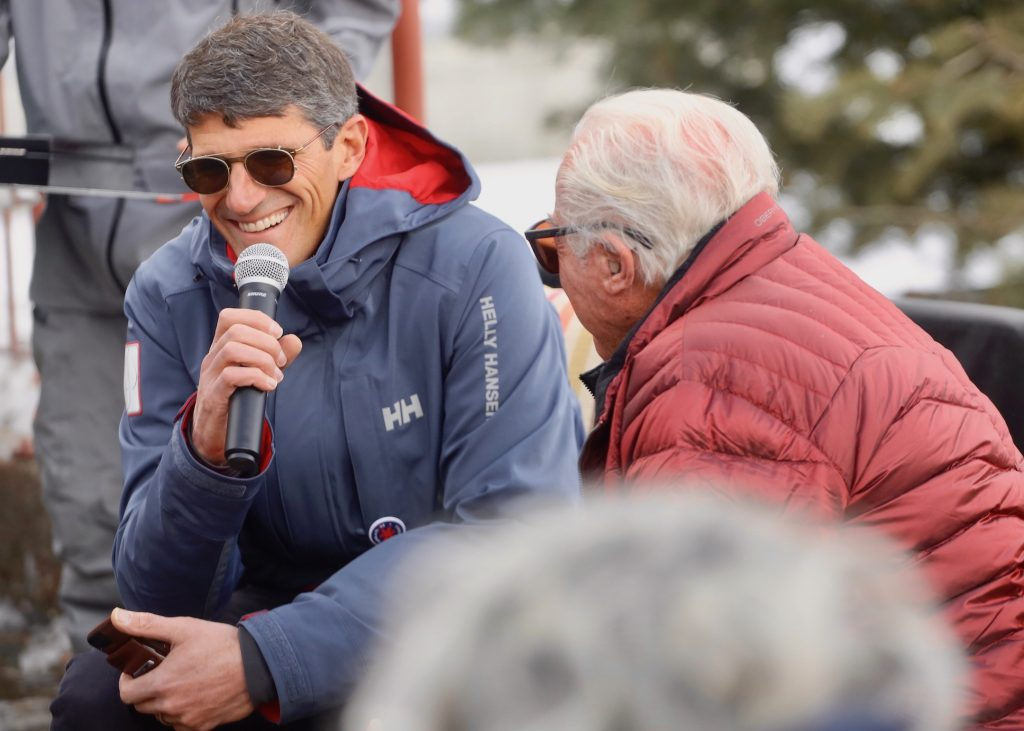 Skiing icon Klaus Obermeyer, who recently turned 100, had a ski run at Buttermilk Ski Area re-named after him by Aspen Skiing Co.'s Mike Kaplan during a short ceremony on opening day Saturday, Dec. 7, 2019. (Photo by Austin Colbert/The Aspen Times)