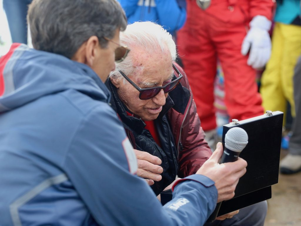 Skiing icon Klaus Obermeyer, who recently turned 100, was presented with a