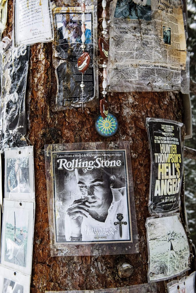 Pictures decorate a shrine dedicated to Hunter S. Thompson  on Snowmass Mountain on Friday, December 27, 2019.