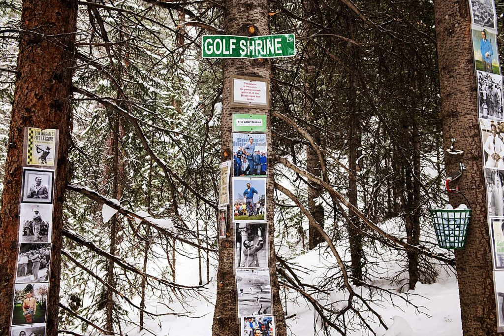 Pictures commemorating famous professional golfers decorate the Golf Shrine at Snowmass Ski Area on Friday, December 27, 2019.