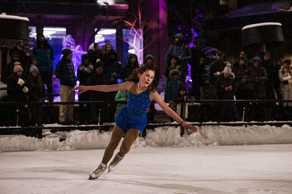 Savannah Kallas, 14, performs an ice skating routine for the Snowmass ice show in Base Village Saturday, December 14, 2019.