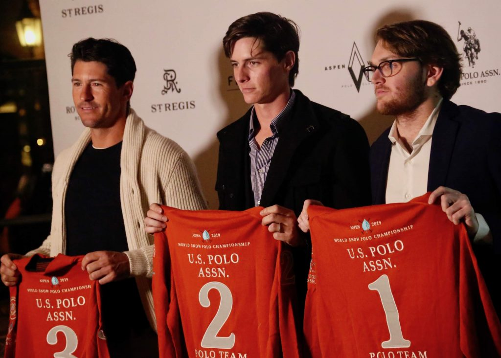 From left, Nic Roldan, Juancito Bollini and Grant Ganzi of U.S. Polo Assn. pose during the World Snow Polo Championships team draw on Tuesday, Dec. 17, 2019, inside the St. Regis Aspen.