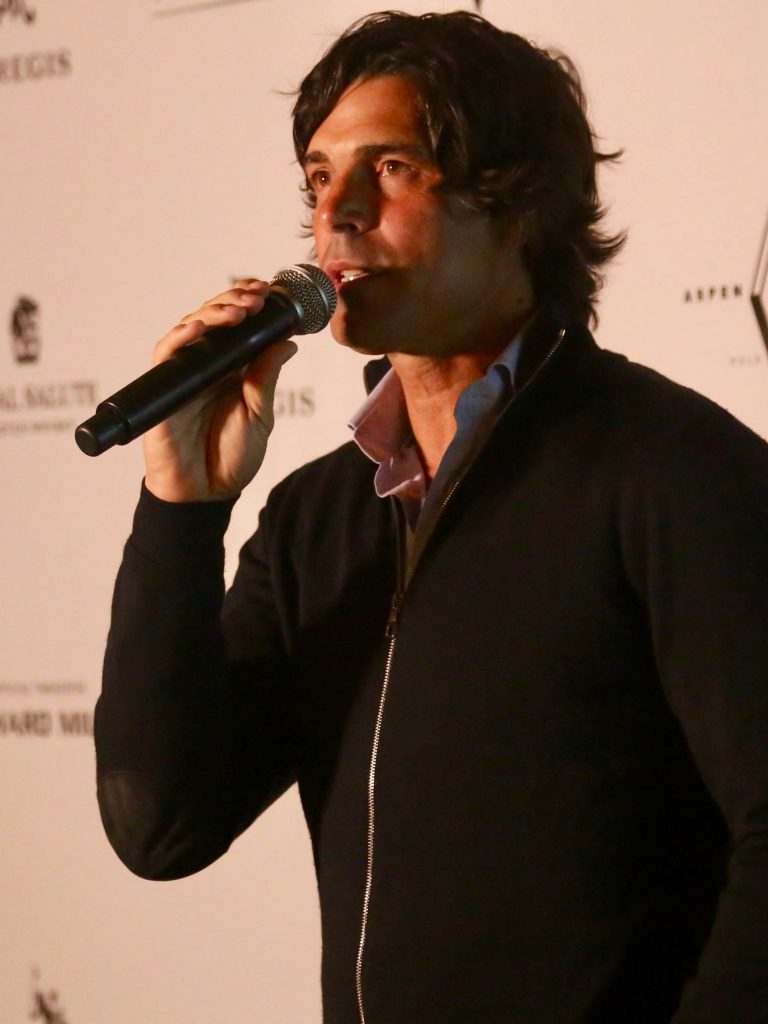Nacho Figueras gives some opening remarks during the Aspen Snow Polo team draw on Tuesday, Dec. 17, 2019, inside the St. Regis Aspen.