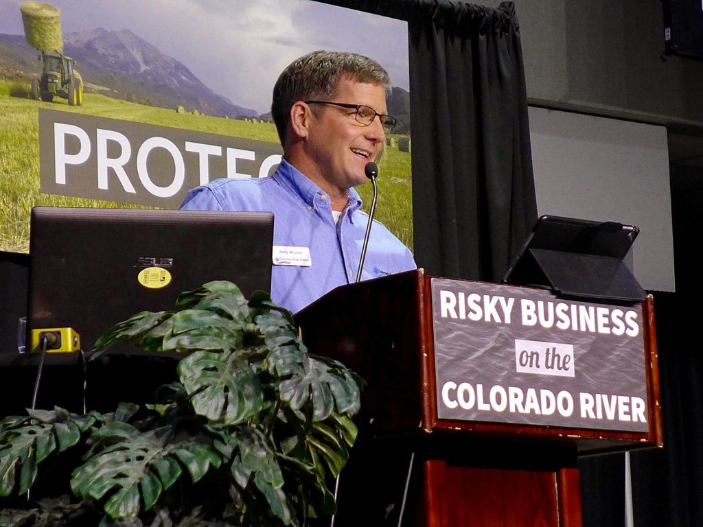 General Manager of the Colorado River Water Conservation District Andy Mueller speaks at the district's annual seminar in 2018. Mueller told the audience the Upper Basin needs to reduce its consumptive use at the Colorado River Water Users Association conference in Las Vegas earlier this month.