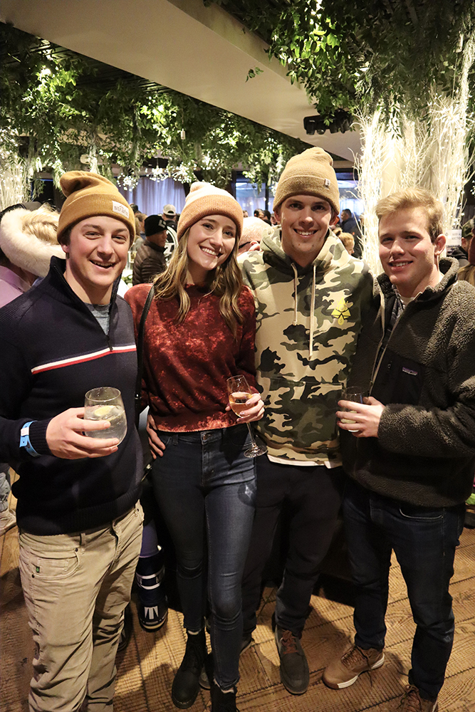 Chapin Newhard and friends stream into the Ajax Cup apres-ski party.