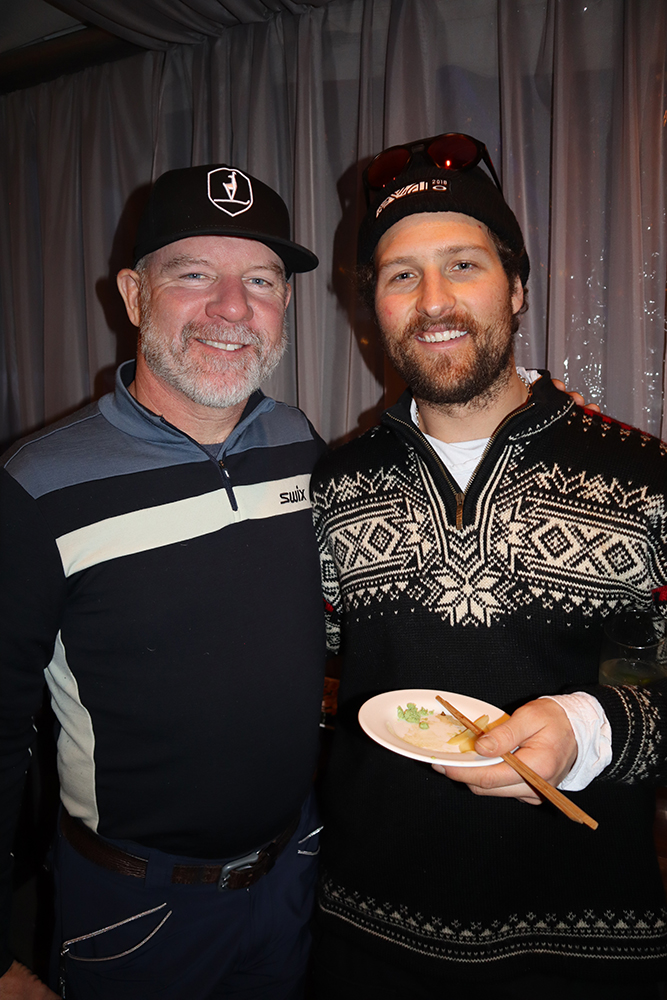 Retired pro skier AJ Kitt with Aspen native and current World Cup skier Wiley Maple.