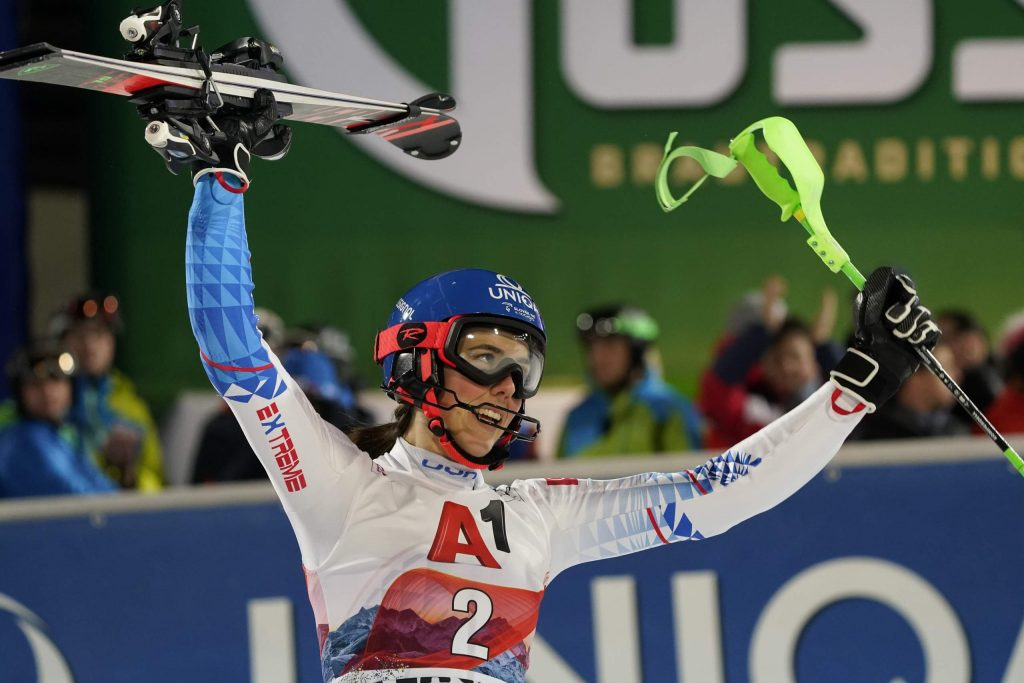 Slovakia's Petra Vlhova reacts after completing an alpine ski, women's World Cup slalom in Flachau, Austria, Tuesday, Jan. 14, 2020. (AP Photo/Giovanni Auletta)