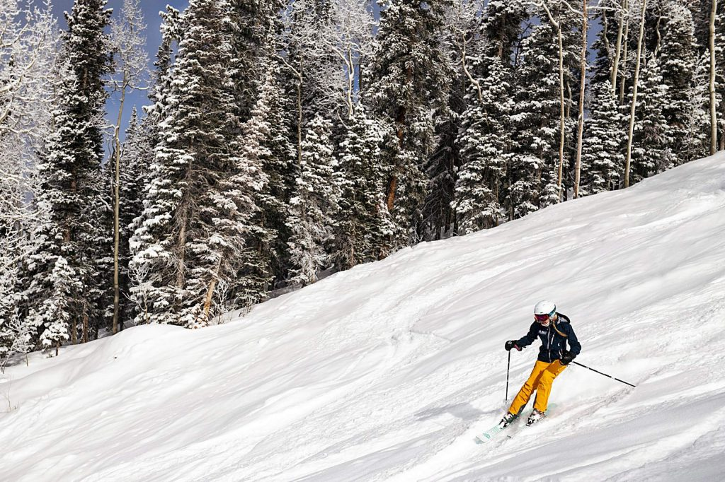 Ski.com Dream Job winner, Ashley LaMarre, skis down Aspen Mountain on Friday, January 10, 2020.