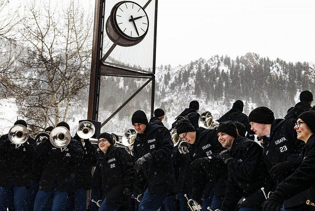 The United States Air Force Academy Band plays on the walking mall on the third day of Winterskol on Saturday, January 11, 2020. (Kelsey Brunner/The Aspen Times)