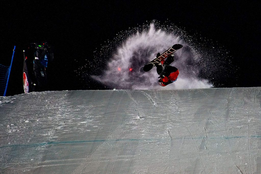 X Games rookie Zeb Powell of Waynesville, North Carolina hucks an inverted trick off of the big air course knuckle at Buttermilk Ski Area in Aspen at the X Games Aspen 2020 knuckle huck competition on Sunday night. Powell won gold.
