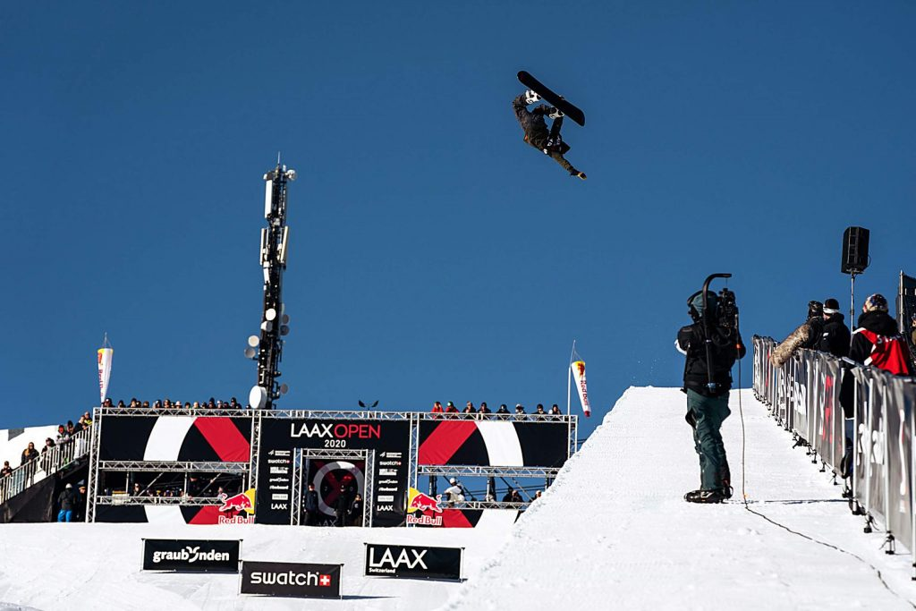 Photos from the 2020 Laax Open World Cup snowboarding event.