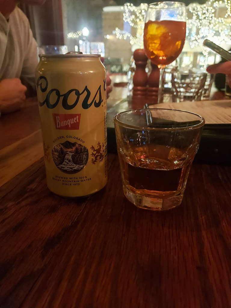 Shot and a beer special (Coor's and whiskey) at Aspen Public House