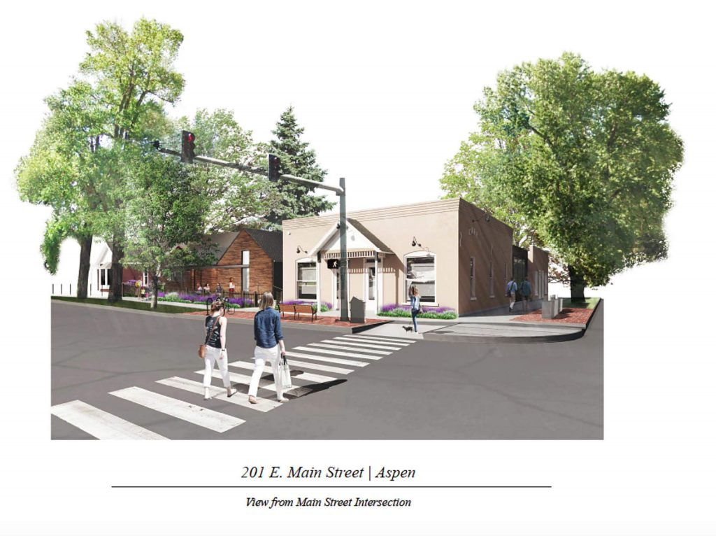 An architect's rendering of what a new building looks like at the former Main Street Bakery property.