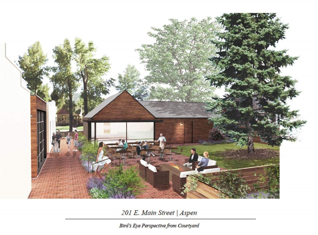 An architect's sketch of the outdoor seating area at a new restaurant at the Main Street Bakery spot, located at 201 E. Main St.