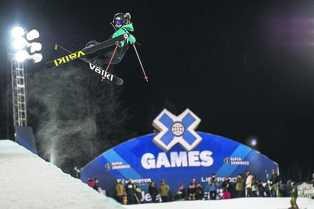 U.S. halfpipe skier Maddie Bowman, the reigning Olympic gold medalist taking a practice run Wednesday night at the Aspen X Games superpipe at Buttermilk.