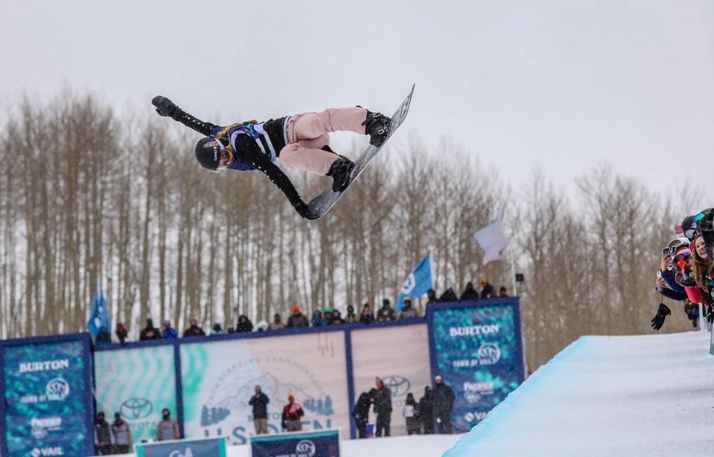 Maddie Mastro Tail grabs during the Women's Halfpipe Finals for the Burton U.S. Open Snowboarding Championships on Saturday, March 10, in Vail. Mastro took second.