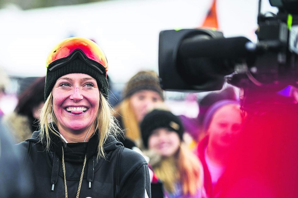 U.S. snowboard slopestyle medalist Jamie Anderson secured first place on January 26, 2018 at the X Games in Aspen with a score of 94 on her second run out of 3.