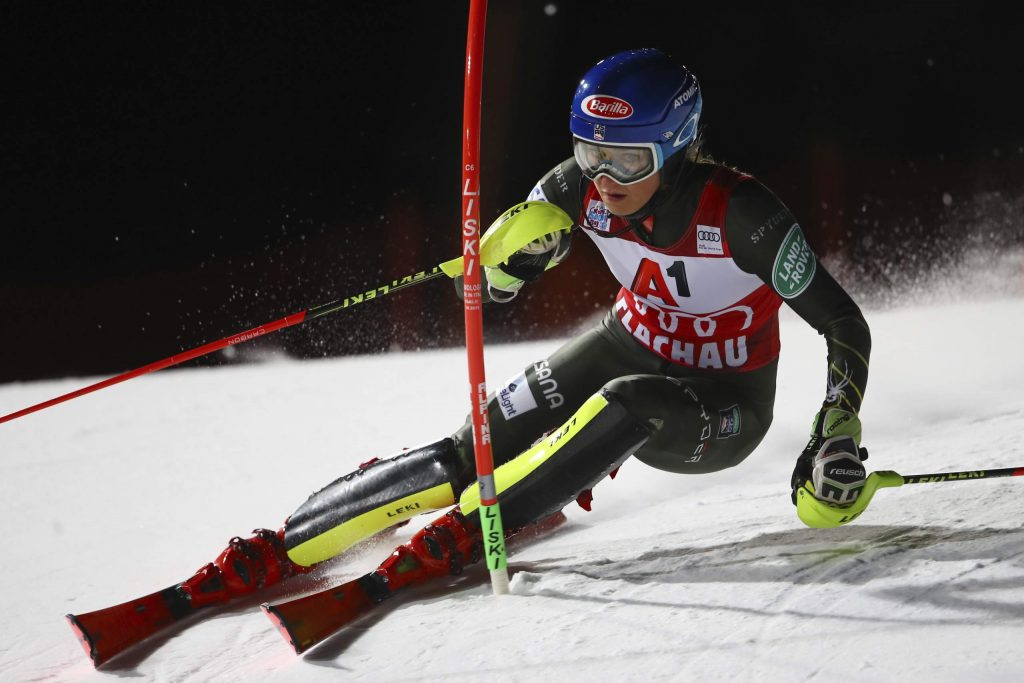 United States' Mikaela Shiffrin competes during an alpine ski, women's World Cup slalom in Flachau, Austria, Tuesday, Jan. 14, 2020. (AP Photo/Marco Trovati)