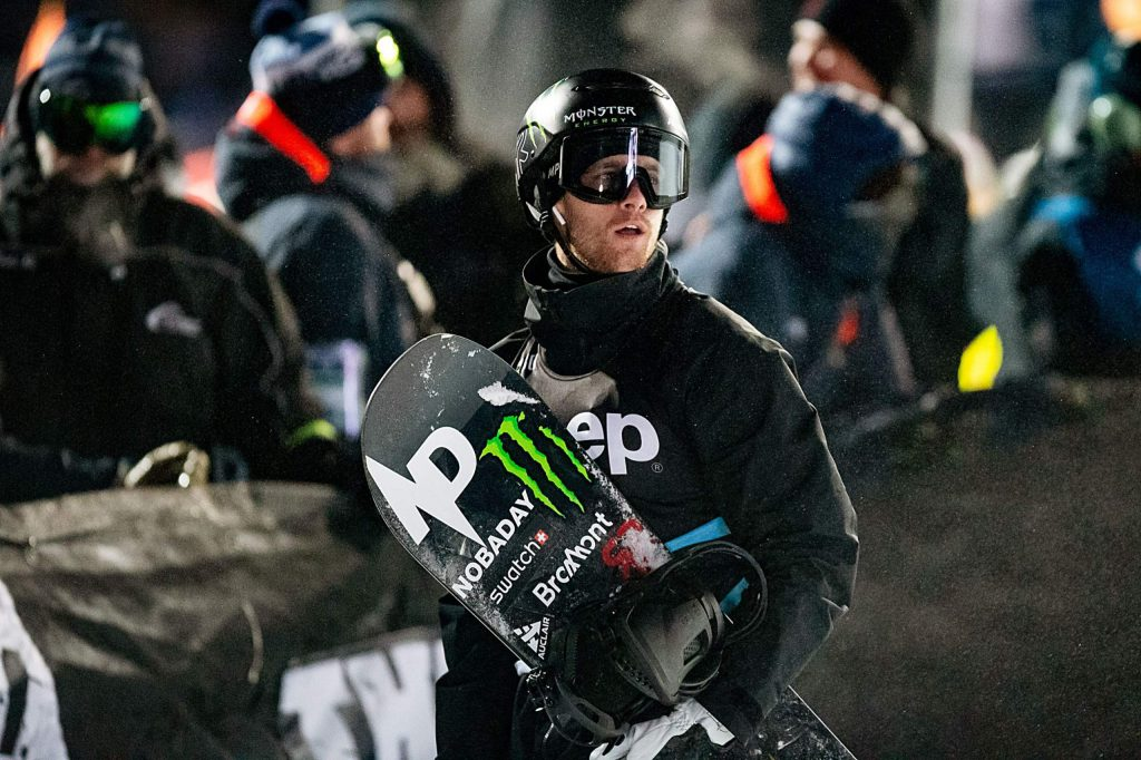 Max Parrot looks up at the leaderboard during his gold-medal win in X Games Aspen's men's snowboard big air final on Saturday at Buttermilk Ski Area in Aspen.