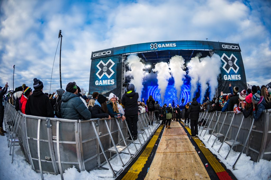 Fans enjoy musical artist Bazzi on Sunday, Jan. 26, 2020, on ButtermilkÕs Geico Music Stage for the last day of X Games Aspen in Aspen Snowmass, Colo. (Liz Copan/Summit Daily News via AP)