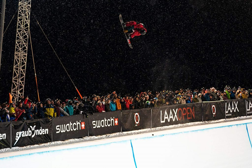 Dillon resident Chase Blackwell inverts high above the halfpipe during one of his final-round runs through the Laax Open superpipe on Saturday night in Switzerland.