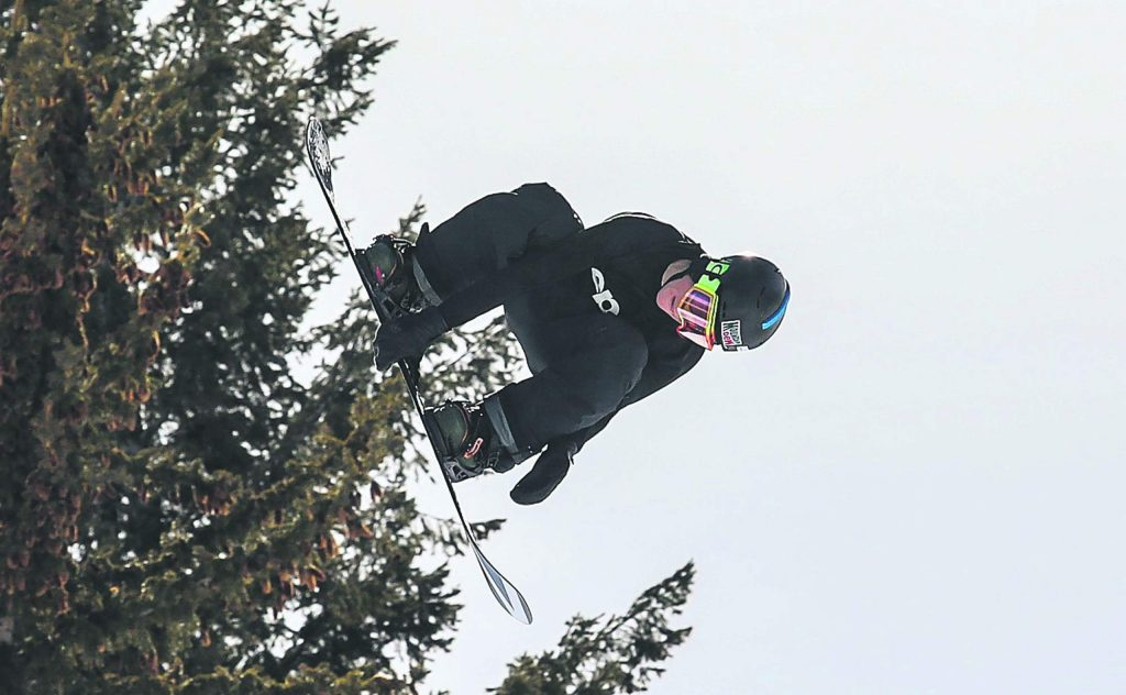 Red Gerard grabs off the hip hit during the Slopestyle Qualifiers on Thursday, Jan. 25, in Aspen.