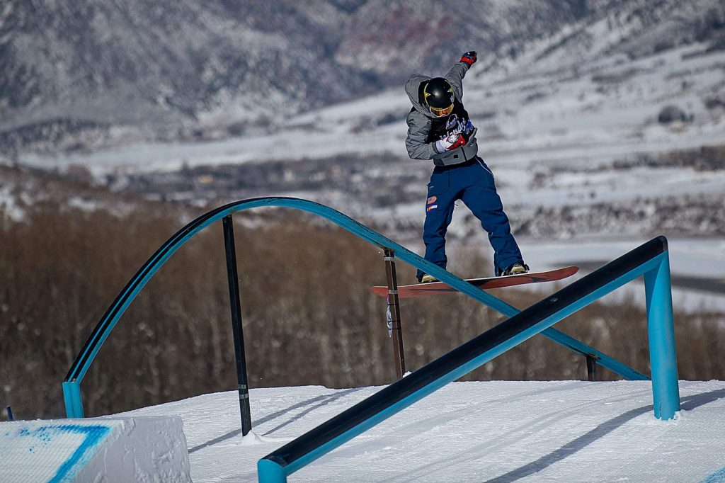Chris Corning of Silverthorne executes a trick down the tear-drop rail at X Games Aspen 2019 at Buttermilk Mountain in Aspen last January.