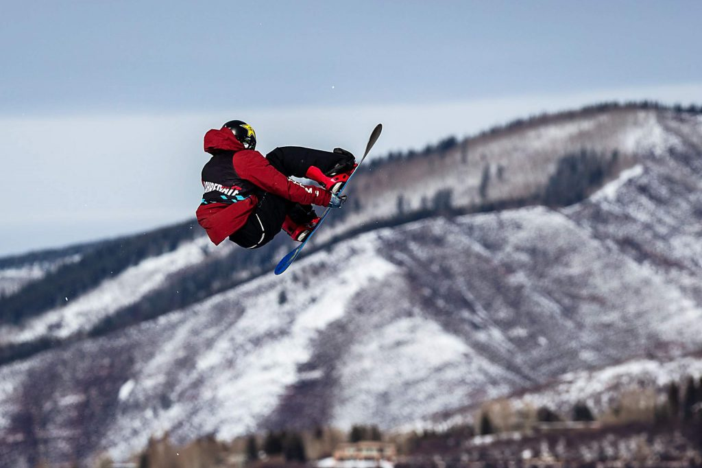 Chris Corning competes in men's snowboard big air elimination round at X Games Aspen on Friday, Jan. 24, 2020, at Buttermilk Ski Area in Aspen Snowmass, Colo. (Liz Copan/Summit Daily News via AP)