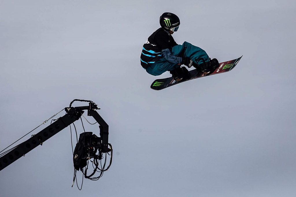Ryo Aizawa competes in men's snowboard big air elimination round at X Games Aspen on Friday, Jan. 24, 2020, at Buttermilk Ski Area in Aspen Snowmass, Colo. (Liz Copan/Summit Daily News via AP)