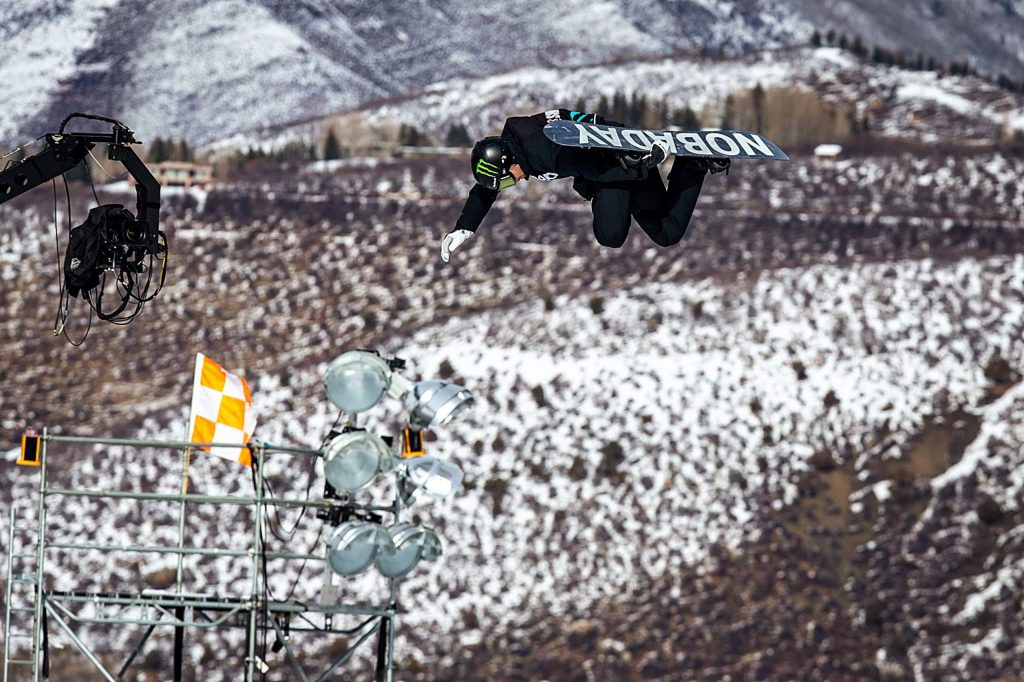 Max Parrot competes in men's snowboard big air elimination round at X Games Aspen on Friday, Jan. 24, 2020, at Buttermilk Ski Area in Aspen Snowmass, Colo. (Liz Copan/Summit Daily News via AP)