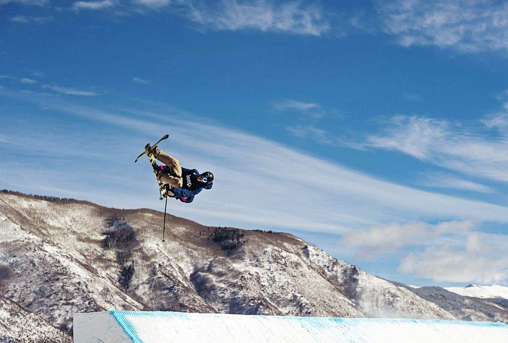 Colby Stevenson hits the first jump during the men's ski slopestyle qualifier on Friday, Jan. 24, 2020. Stevenson qualified for the final event on Saturday at 12:30. (Kelsey Brunner/The Aspen Times)