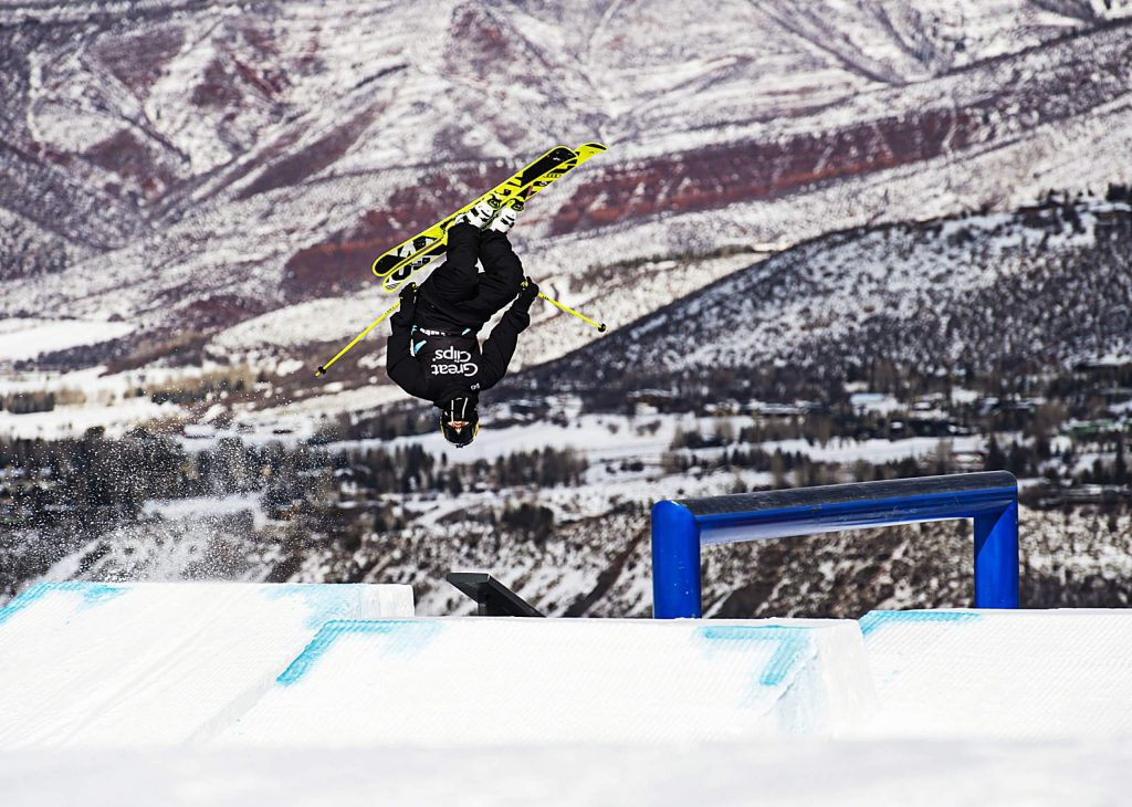 Jesper Trader practices before the men's ski slopestyle qualifying event on Friday, Jan. 24, 2020. (Kelsey Brunner/The Aspen Times)