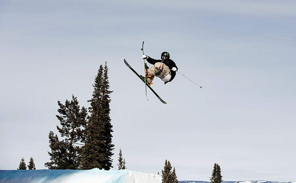 Henrik Harlaut hits the first jump during the men's ski slopestyle qualifiers on Friday, Jan. 24, 2020. (Kelsey Brunner/The Aspen Times)