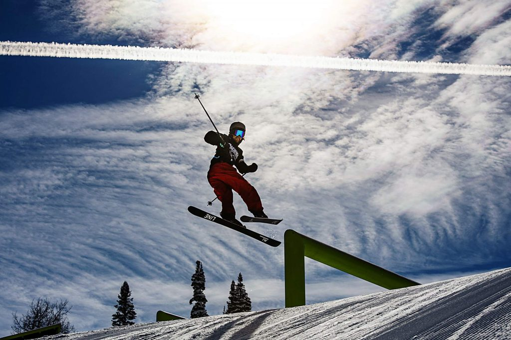 Mark Hendrickson hits a rail during practice for the men's ski slopestyle qualifying event on Friday, Jan. 24, 2020. (Kelsey Brunner/The Aspen Times)