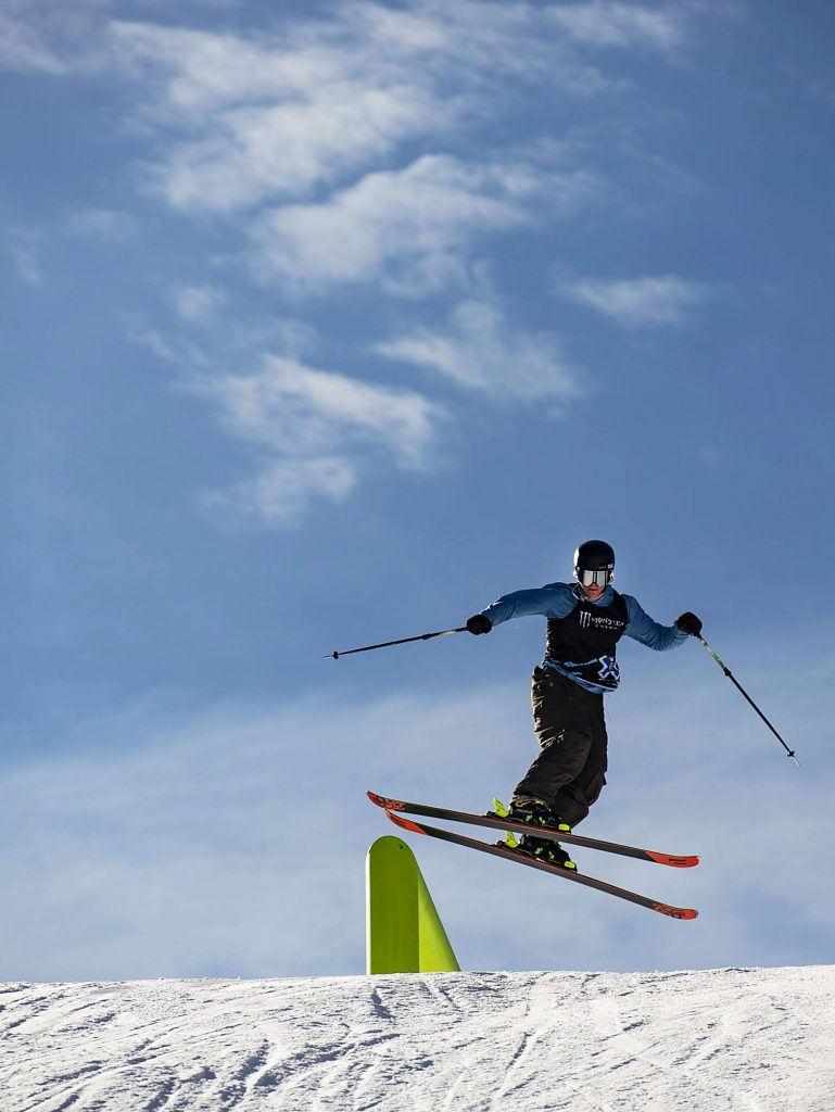 Max Moffatt hits a rail during practice for the men's ski slopestyle qualifying event on Friday, Jan. 24, 2020. (Kelsey Brunner/The Aspen Times)