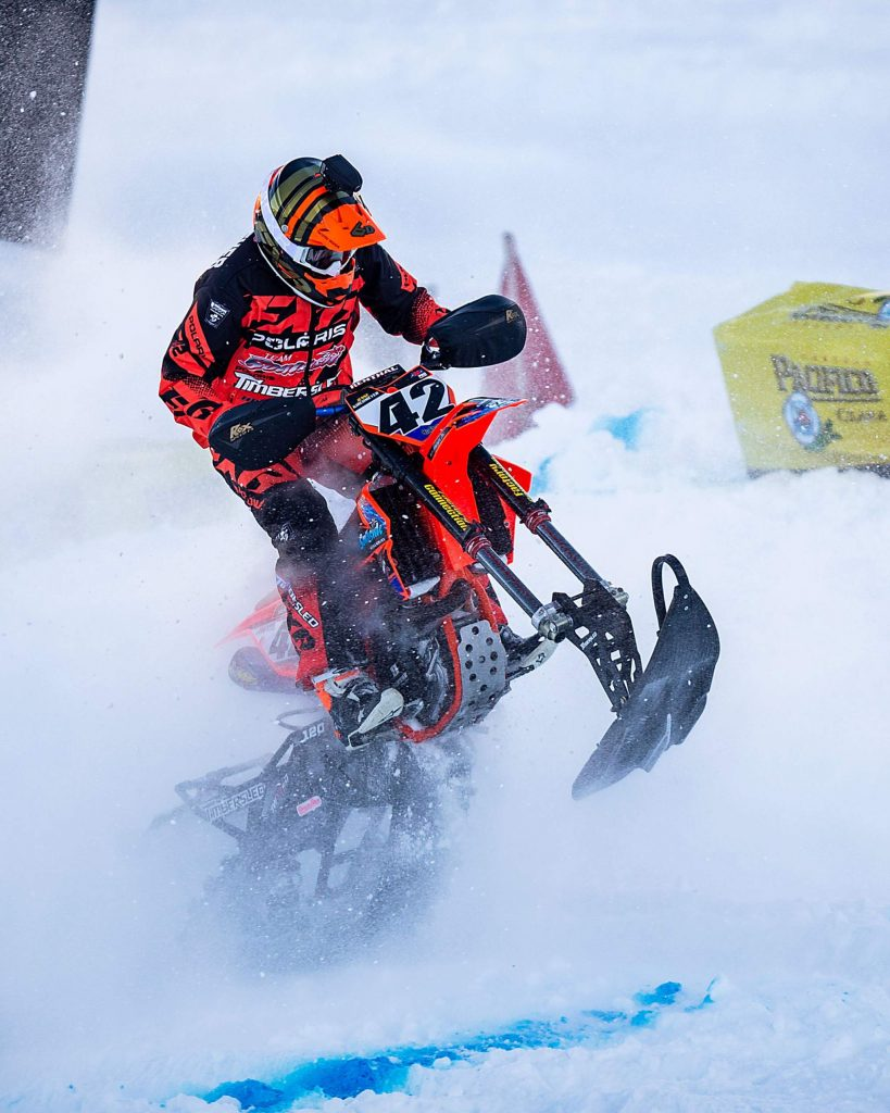 Jesse Kirchmeyer competes in the snow bikecross finals at X Games Aspen on Saturday, Jan. 25, 2020, at Buttermilk Ski Area in Aspen Snowmass, Colo. (Liz Copan/Summit Daily News via AP)