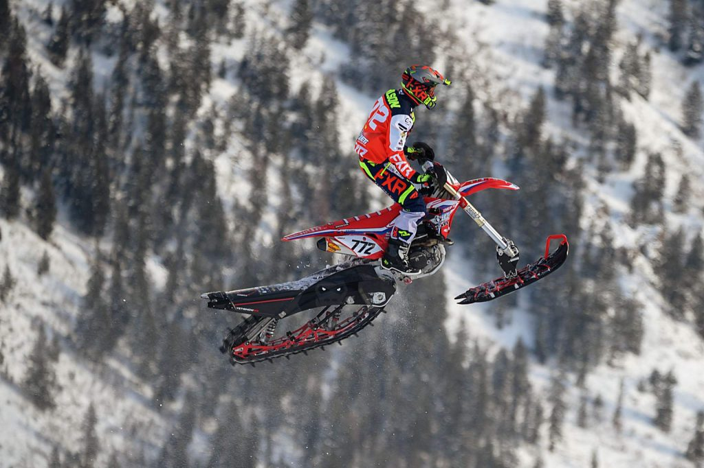 Mark Wilson of Steamboat Springs competes Saturday, Jan. 25, 2020, in the snowbike cross qualifier. (Dale Pistole/Special to The Aspen Times)