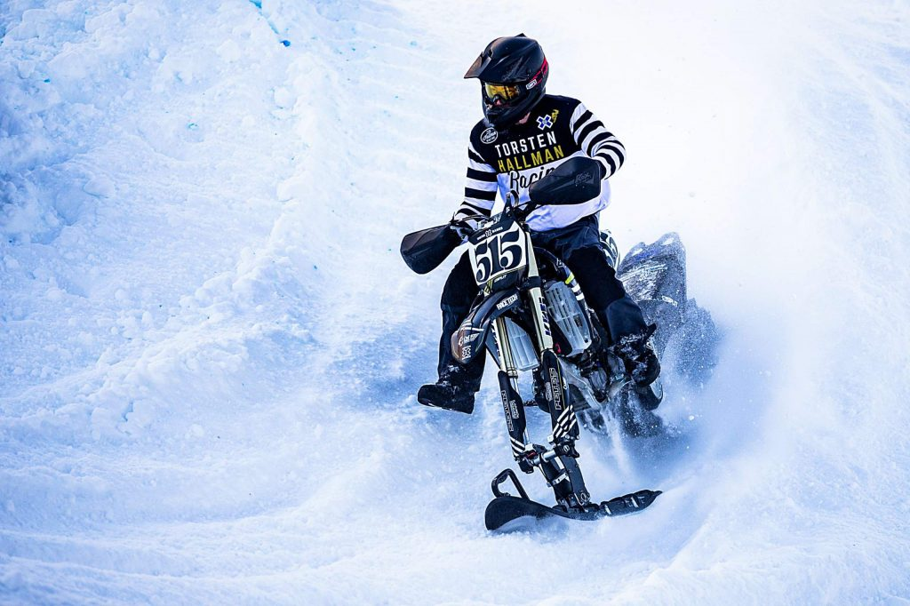 Mick Olson competes in the snow bikecross finals at X Games Aspen on Saturday, Jan. 25, 2020, at Buttermilk Ski Area in Aspen Snowmass, Colo. (Liz Copan/Summit Daily News via AP)